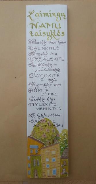 """Medžio grafika """"Laimingų namų taisyklės"""""""